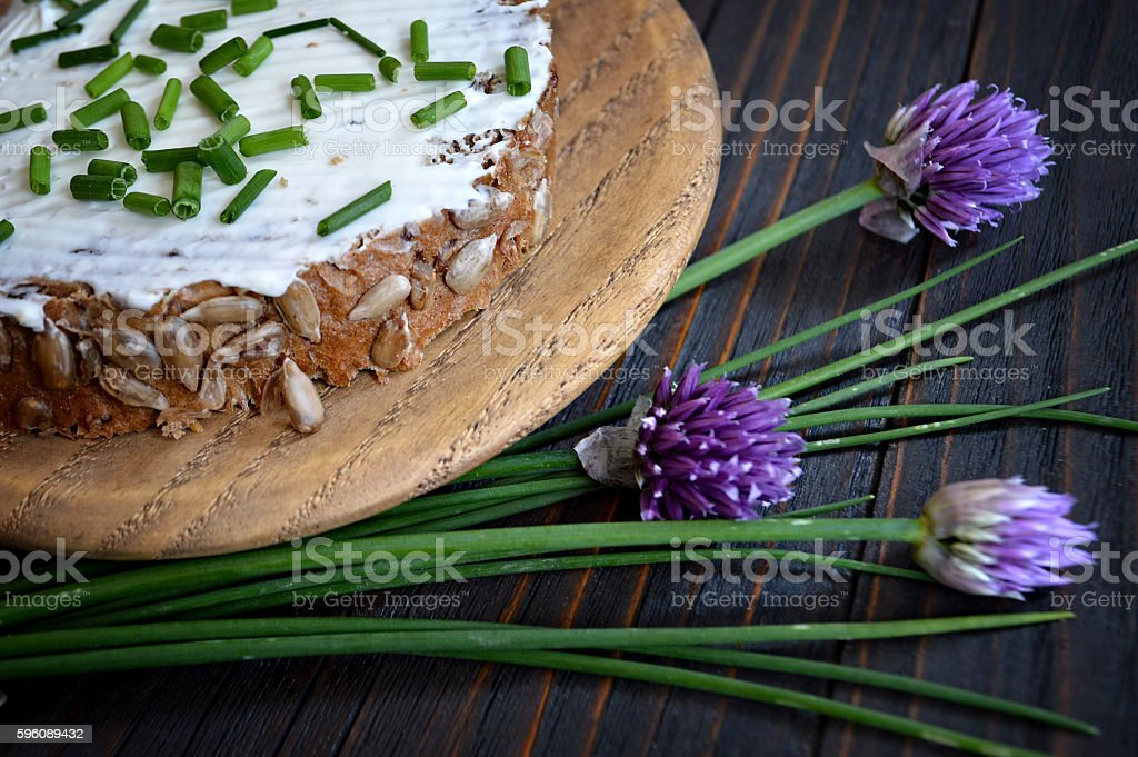 Cottage cheese on slice of wholemeal bread royalty-free stock photo