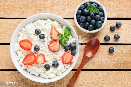 863562090 istock photo Cottage cheese or curd cheese with berries 1188577210