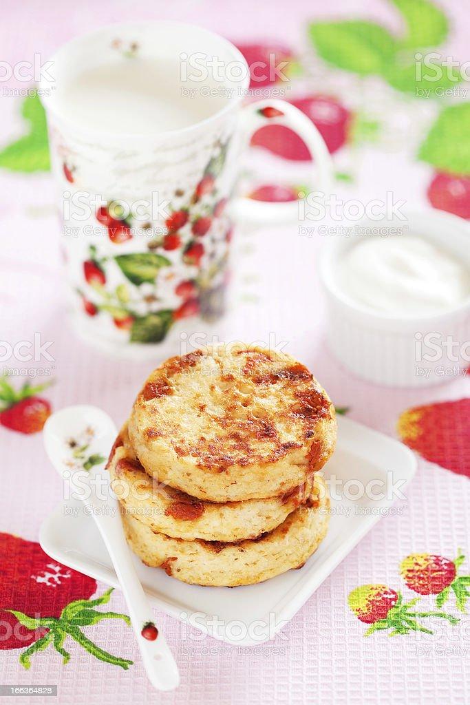 Cottage cheese pancakes royalty-free stock photo