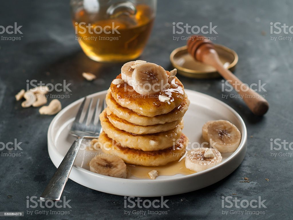 cottage cheese pancakes stock photo