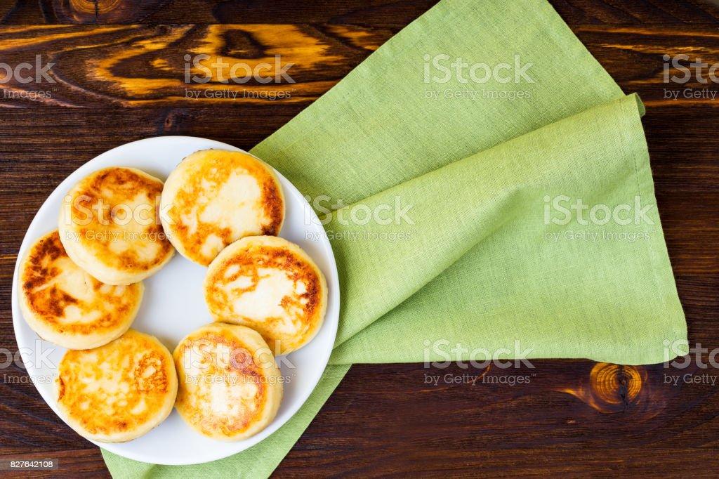 Cottage cheese pancakes stock photo