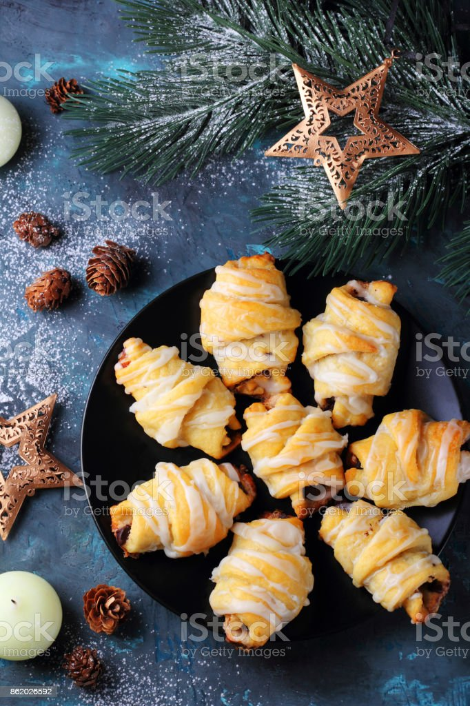 cottage cheese rolls with chocolate and nuts stock photo