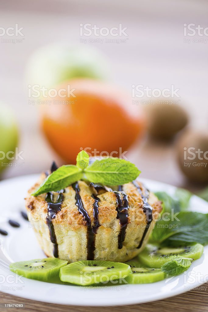 cottage cheese with fruit muffins royalty-free stock photo