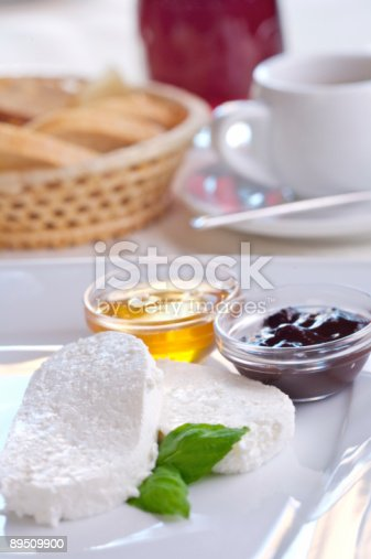 Cottage Cheese With Honey Andl Plum Jam Stock Photo & More Pictures of Appetizer