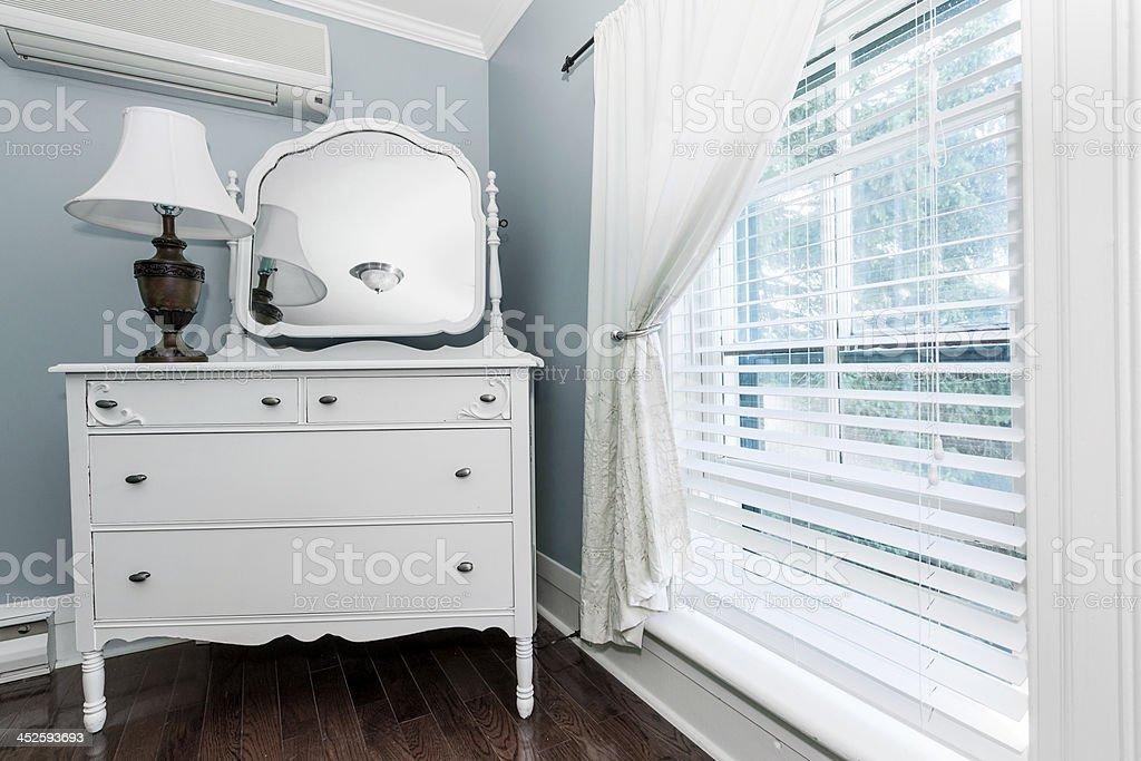 Cottage dresser with mirror stock photo