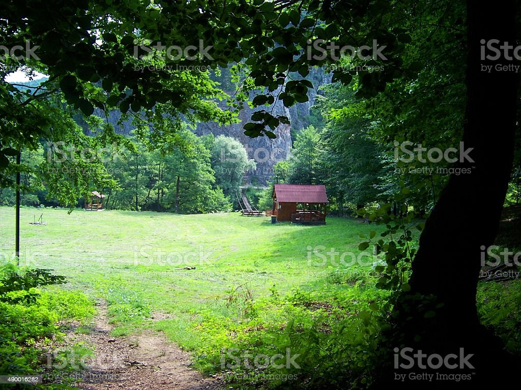 Cottage in a glade stock photo