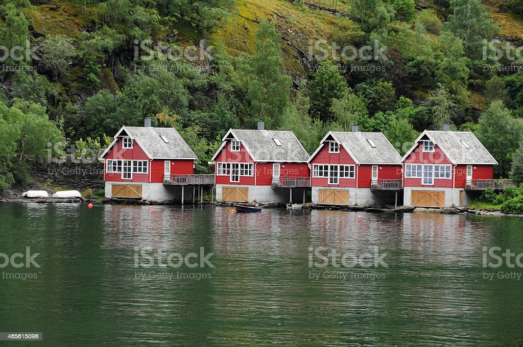Cottage in Fjords stock photo