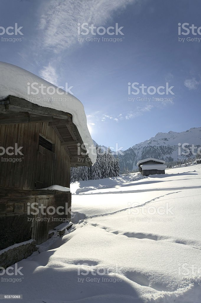 cottage in the snow royalty-free stock photo