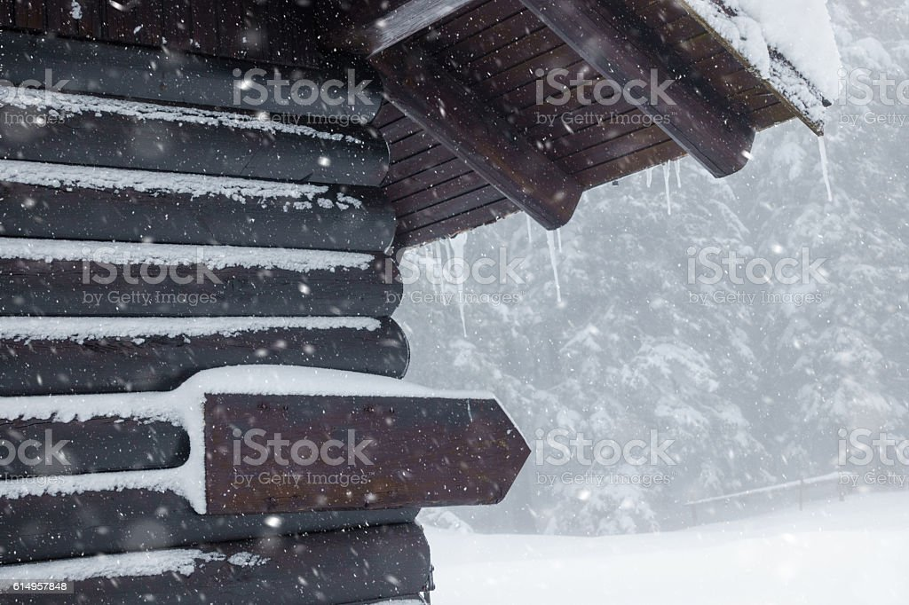 Cottage on a snowy day stock photo