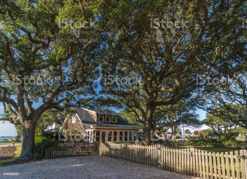 Cottage on Harkers Island, NC stock photo