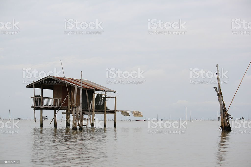 Cottage on the sea royalty-free stock photo