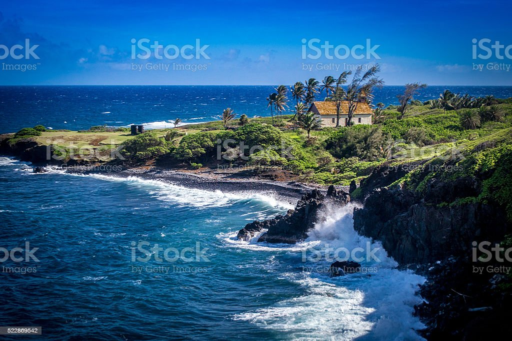 Cottage on the shores of Maui stock photo