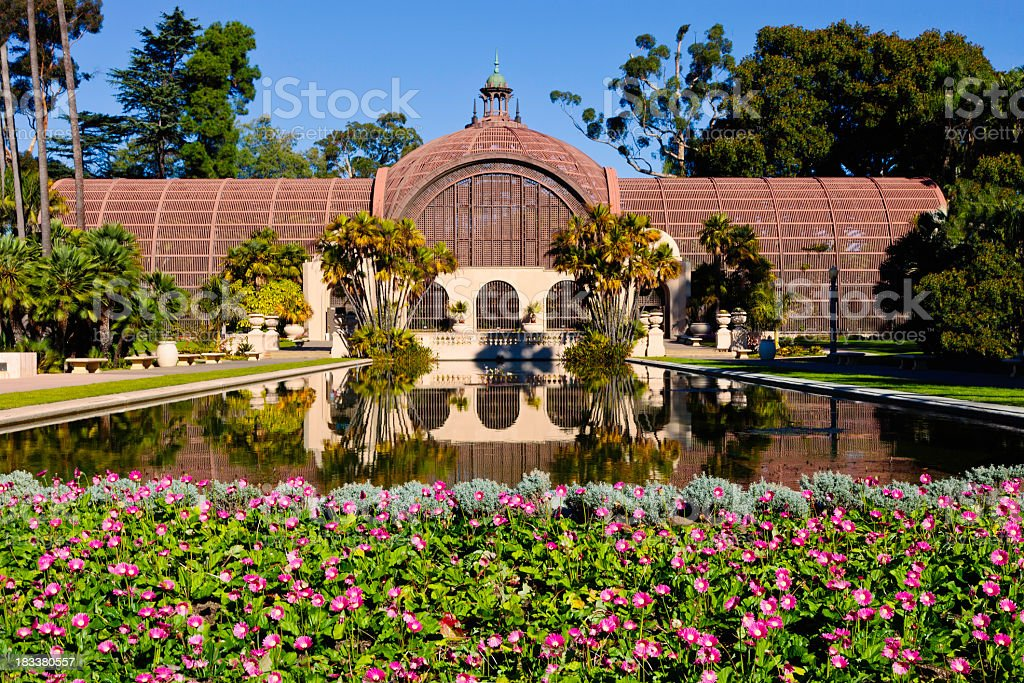 Cottage reflected in a lake, Balboa Park, San Diego stock photo