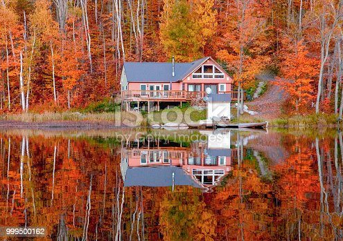 Cabin in Ontario with autumn colors in background
