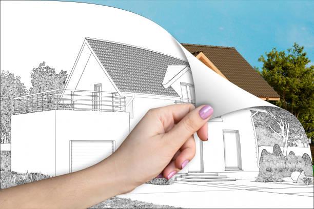 A cottage renovation concept 3d illustration. A cottage renovation concept throwing stock pictures, royalty-free photos & images