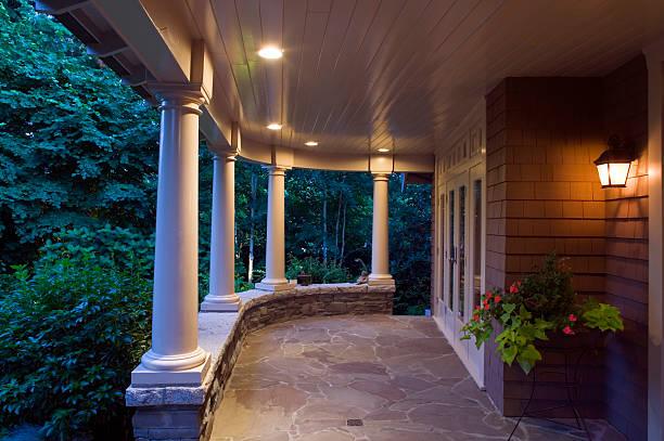 cottage verandah dusk stock photo