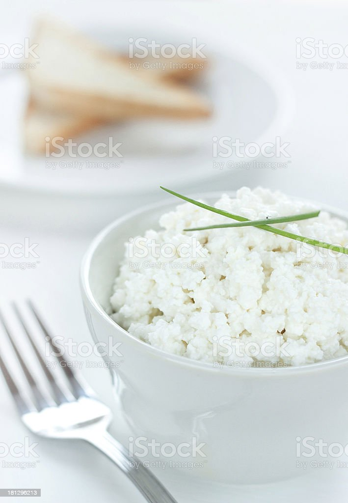 Cottage white cheese in a bowl with chives royalty-free stock photo