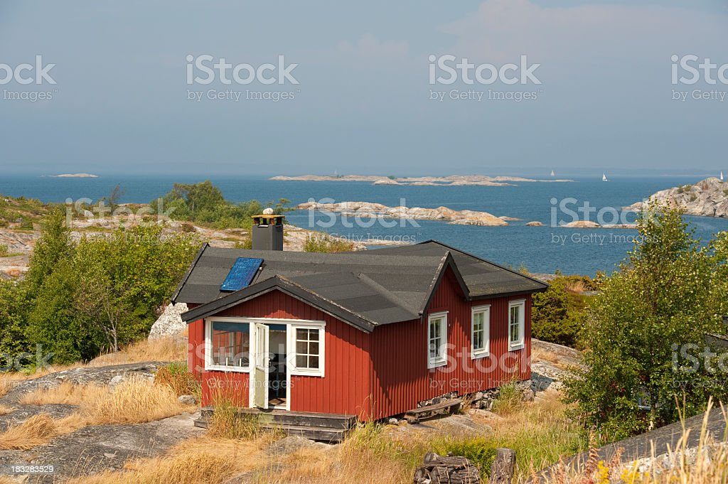 Cottage with a view in the archipelago royalty-free stock photo