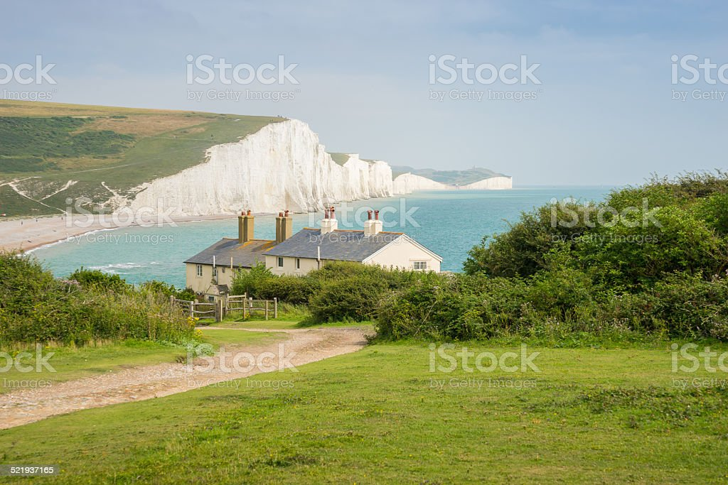 Cottages & 7 Seven Sisters, Brighton, England stock photo