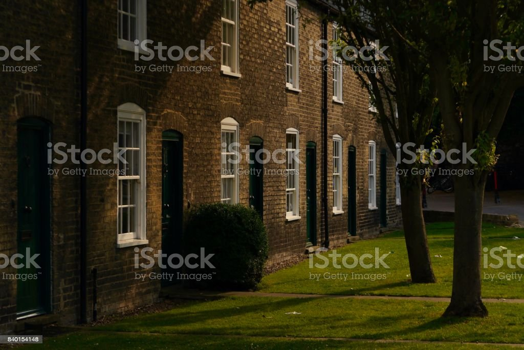Cottages in Cambridge, UK stock photo