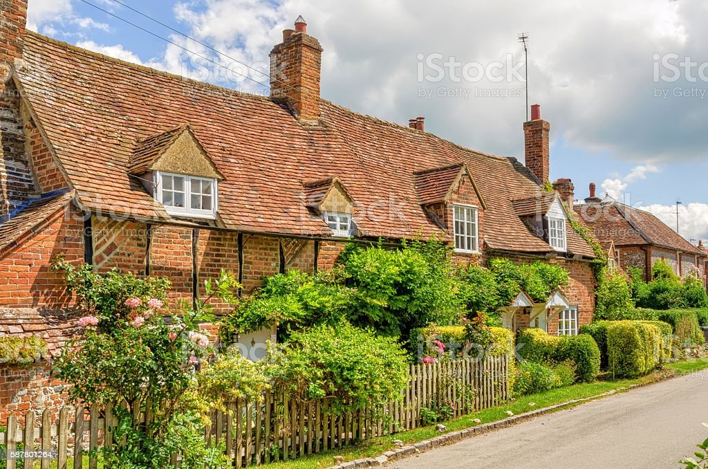 Cottages of Turville, Buckinghamshire, England stock photo