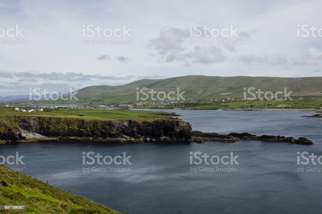 Cottages on Cliff stock photo