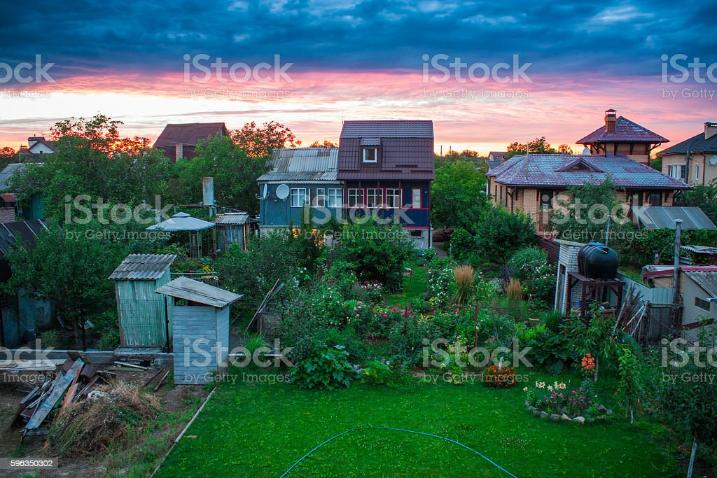 Cottages on the sky background Lizenzfreies stock-foto
