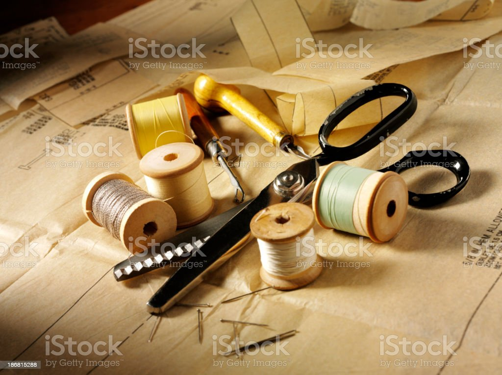 Cotton and Scissors royalty-free stock photo