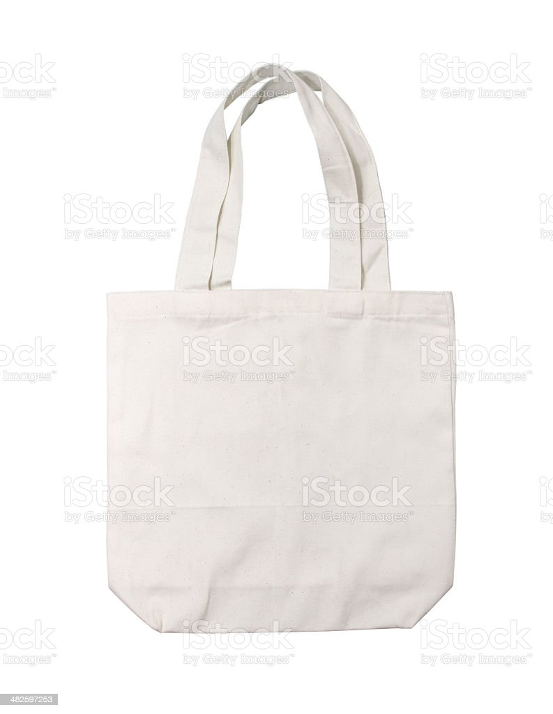 cotton bag on white isolated background stock photo