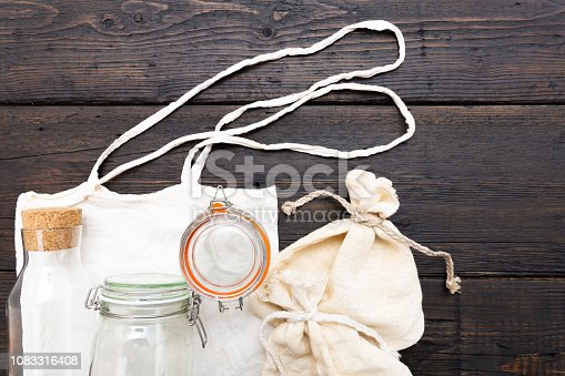 Cotton bags and glass gar for free plastic shopping. Zero waste concept