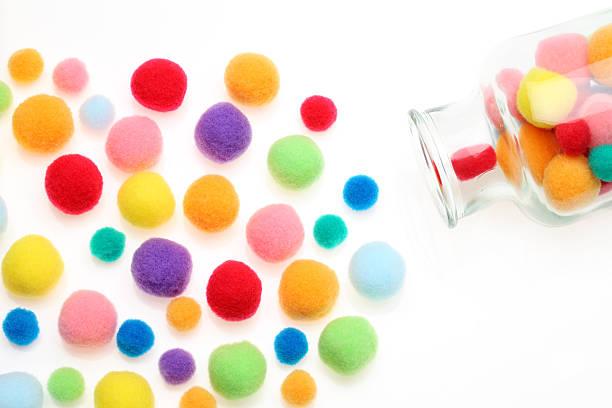 cotton ball - filzkugeln stock-fotos und bilder