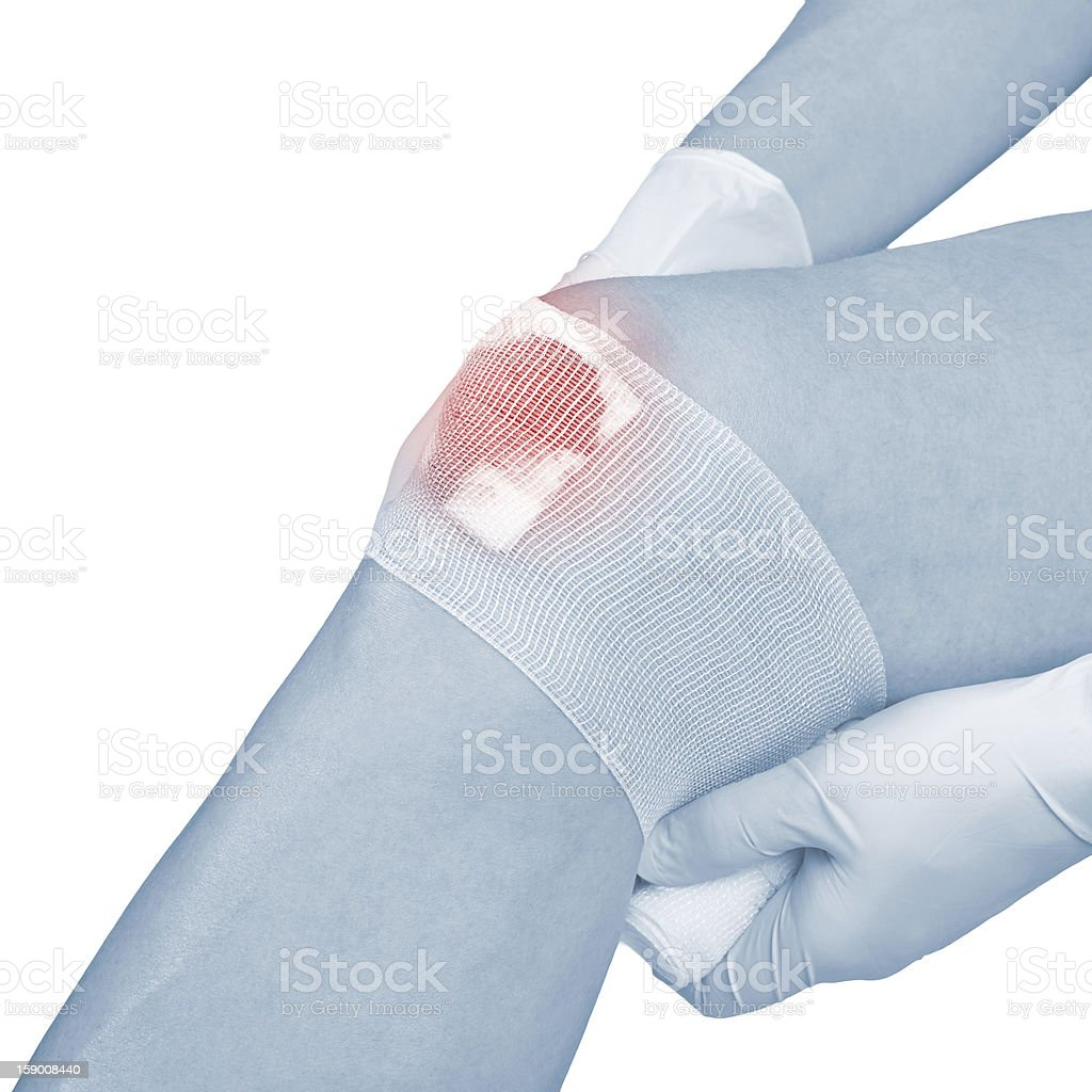 Cotton bandage over a wound on knee. royalty-free stock photo