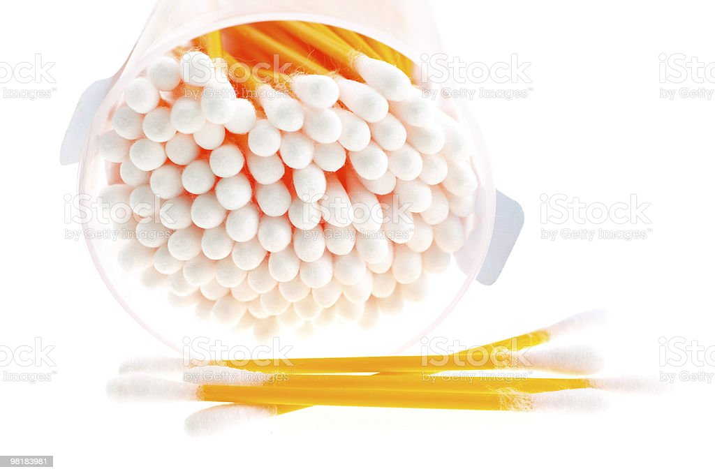 cotton buds in transparent plastic box royalty-free stock photo