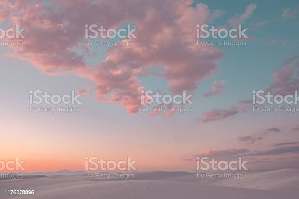 Photo of Cotton candy clouds in White Sands National Monument
