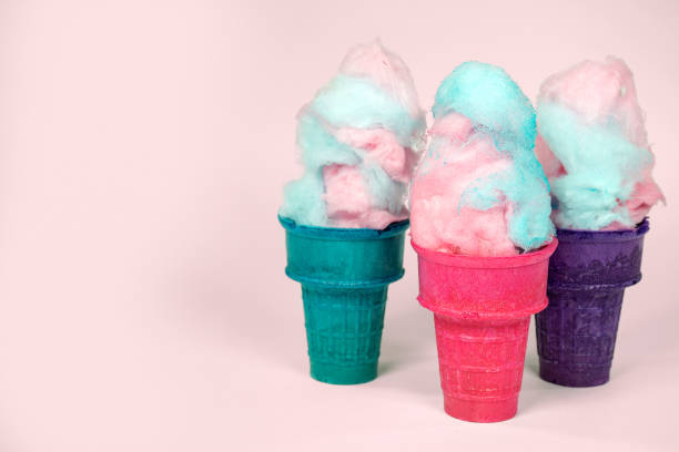 cotton candy in colorful cones stock photo