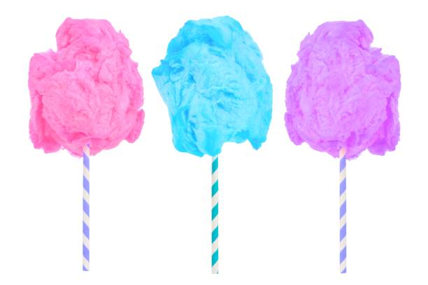 Cotton candy in pink, blue and purple isolated on white stock photo