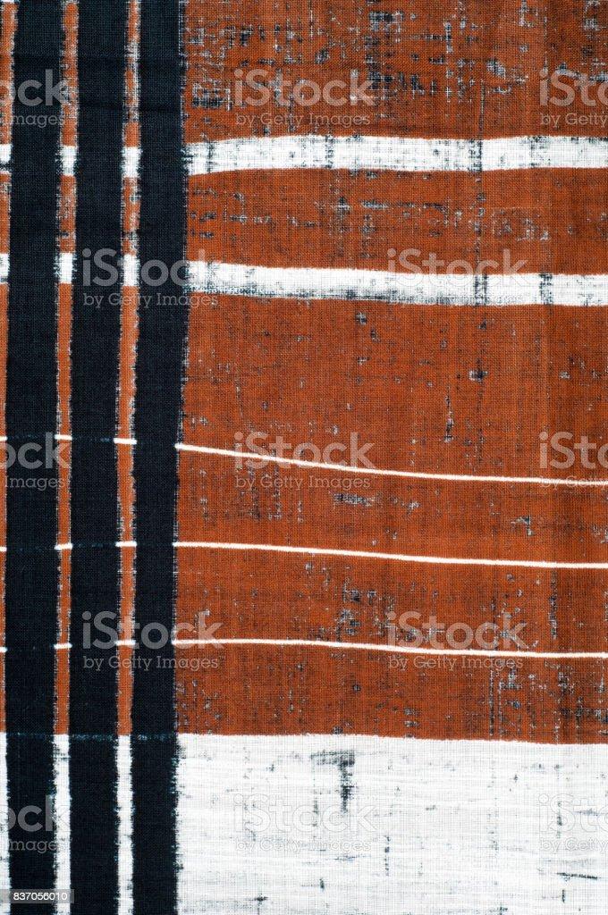 Cotton fabric texture. Brown black white stripe pattern fabric stock photo