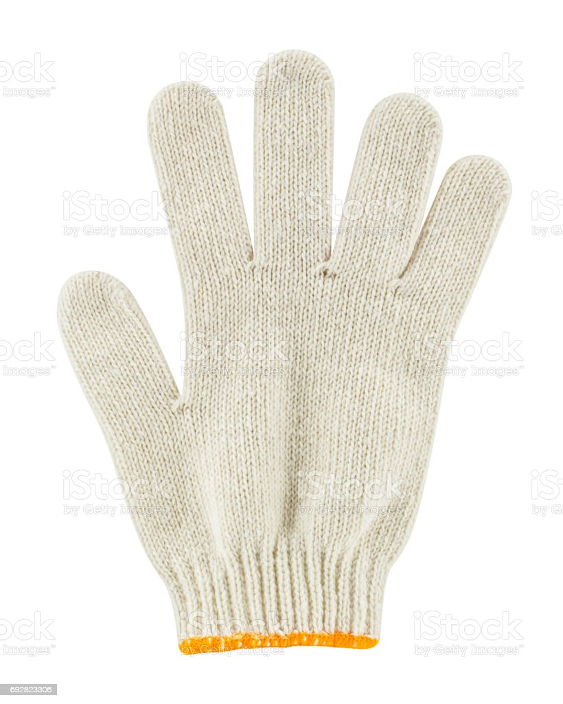 Cotton glove isolated on white background stock photo