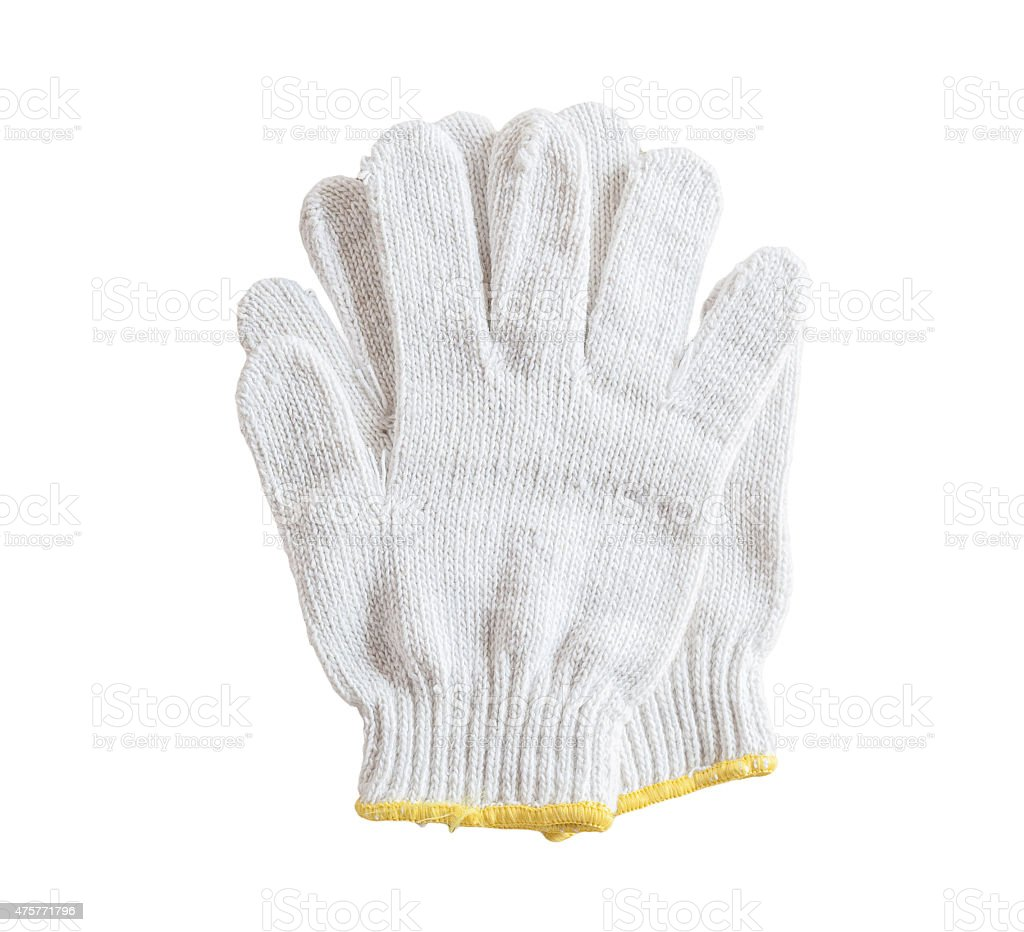 Cotton gloves on white background. stock photo