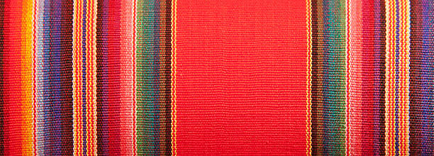 Cotton, Linnen, Wool Textile Fabric Canvas Detail Background Blanket Detail with Latin American Color Pattern mexican culture stock pictures, royalty-free photos & images