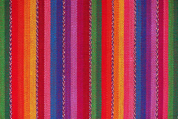 Cotton, Linnen, Wool Textile Fabric Canvas Detail Background Textile Detail with Latin American Color Pattern craft product stock pictures, royalty-free photos & images