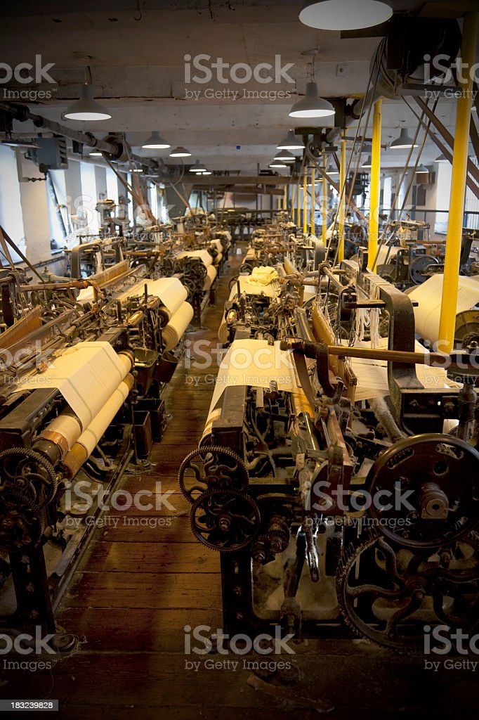 Cotton mill weaving shed stock photo