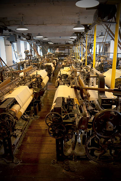 cotton mill weaving shed - industrial revolution stock pictures, royalty-free photos & images