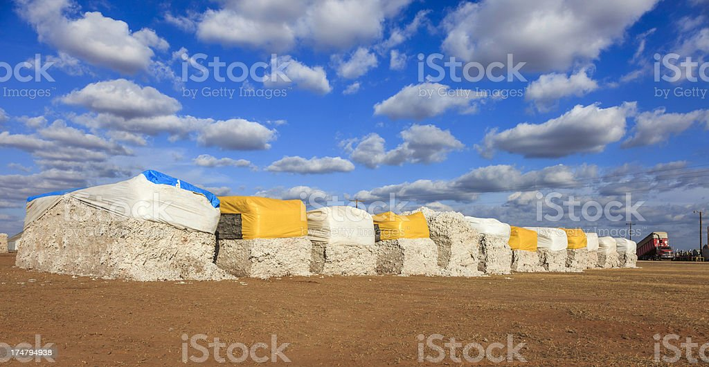 cotton modules in gin yard ready for ginning royalty-free stock photo