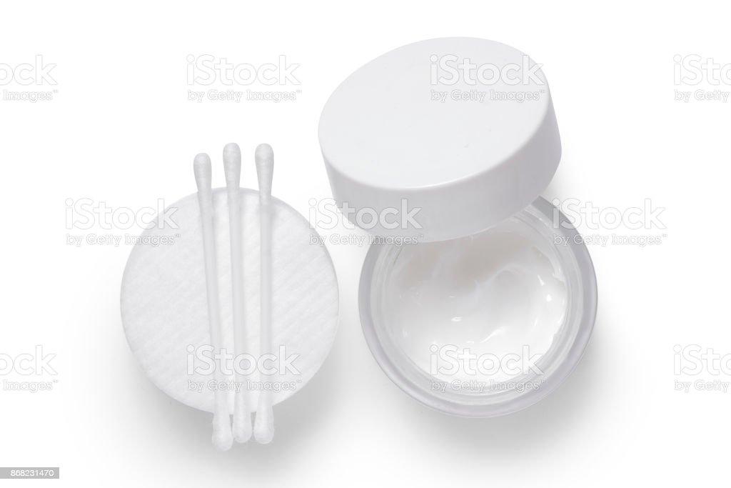 Cotton pads cream isolation stock photo