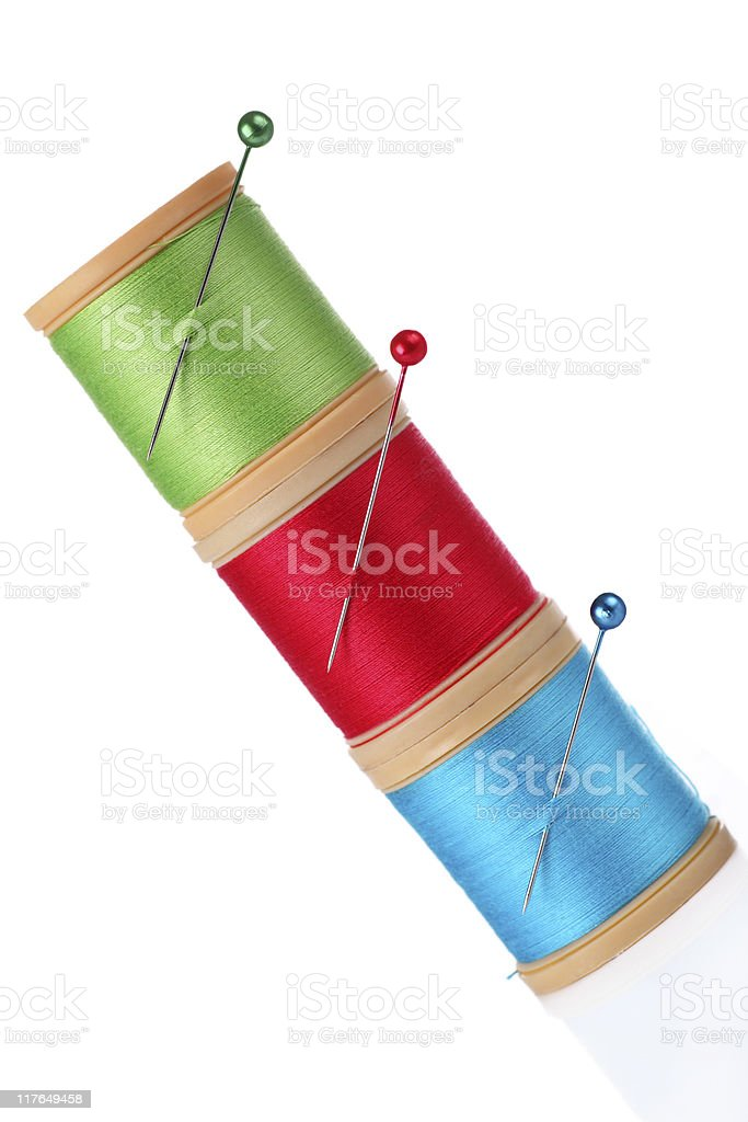 cotton reels and pins royalty-free stock photo