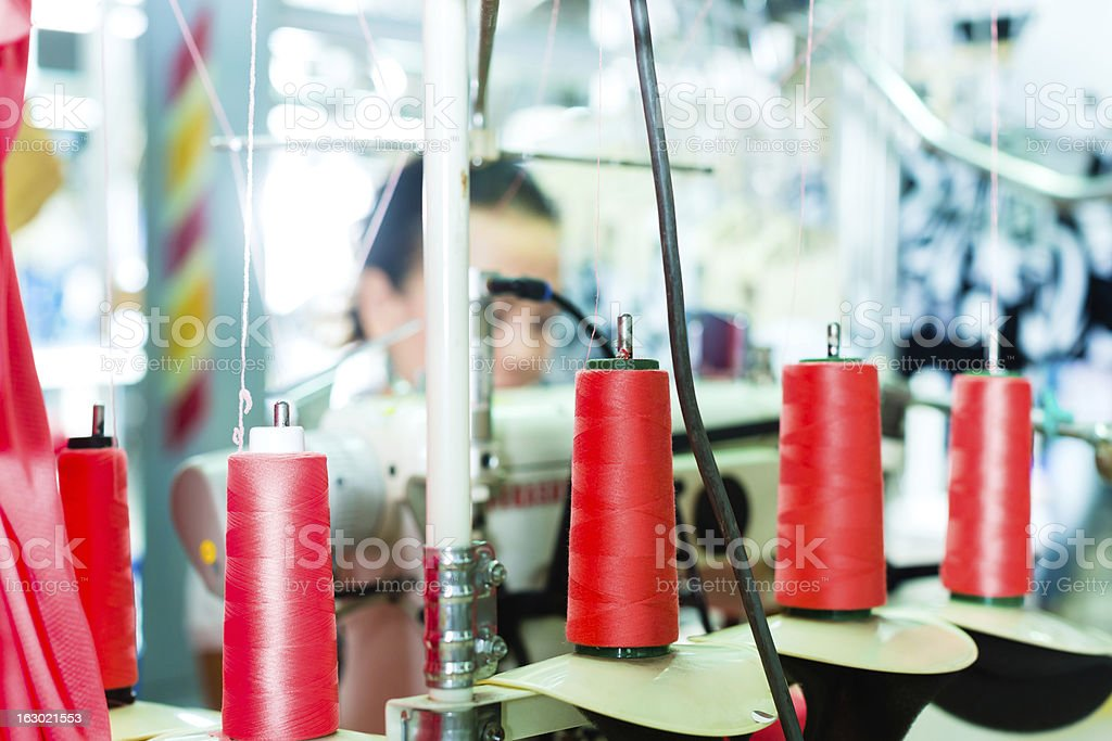 cotton reels in a textile factory royalty-free stock photo