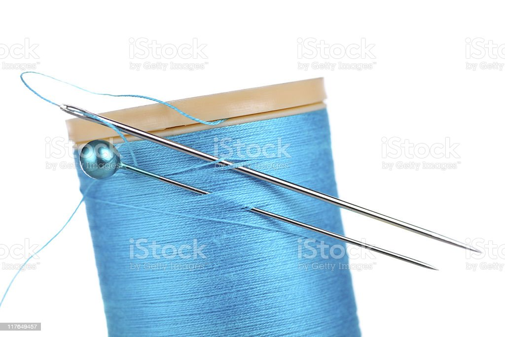 cotton reels ,needle and pins royalty-free stock photo
