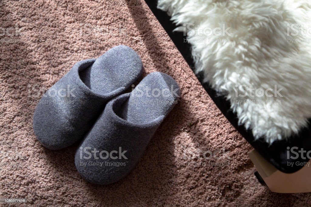 cotton slippers on carpet