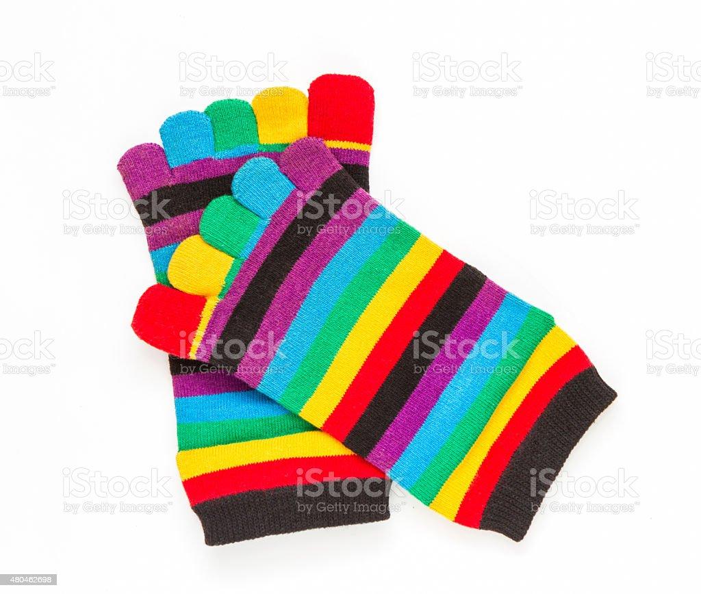 Cotton socks on white background. stock photo